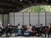 OJAI, CA- June 14, 2015: Wu Man (pipa), Sandeep Das (tabla) and Calder Quartet perform Evan Ziporyn's Sulvasutra at the Libbey Bowl during the 2015 Ojai Music Festival.