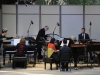 OJAI, CA- June 14, 2015: clockwise from left, Vicki Ray (piano), Steven Schick (percussion), Joseph Pereira (timpani) and Gloria Cheng (piano) perform Bartok's Sonata for Two Pianos and Percussion at the Libbey Bowl during the 2015 Ojai Music Festival.